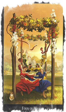 Стихия огня — 4 Жезлов Таро значение карты покоя и радости