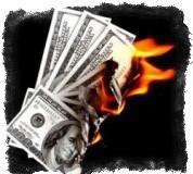 горящие доллары