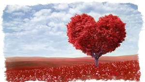 красное дерево в виде сердца